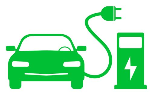small_green electric car and charging station symbol